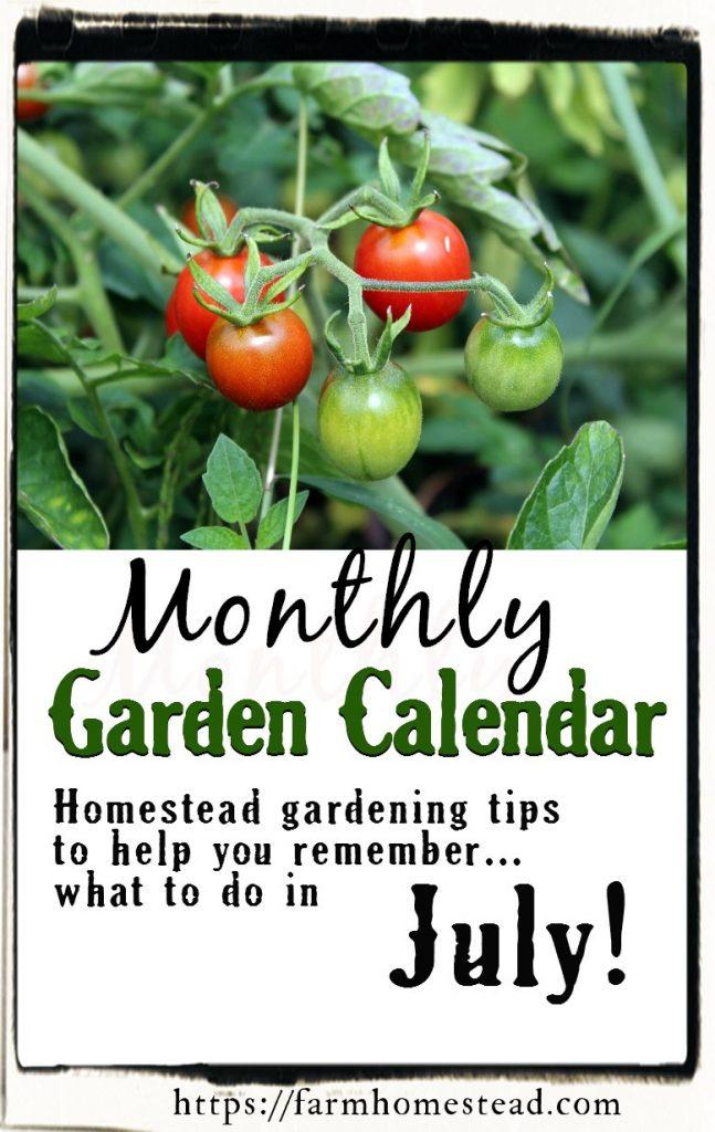 July Garden Calendar